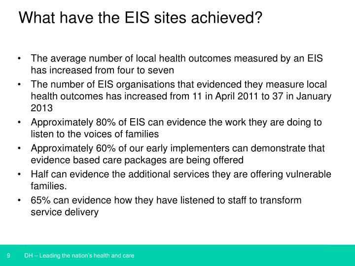 What have the EIS sites achieved?