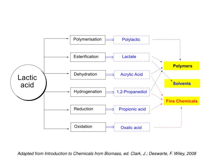 Adapted from Introduction to Chemicals from Biomass, ed. Clark, J.; Deswarte, F. Wiley, 2008