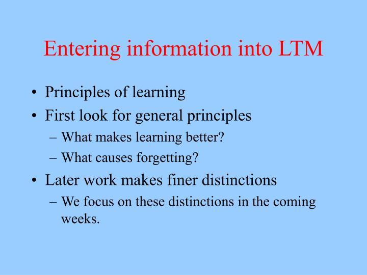 Entering information into LTM