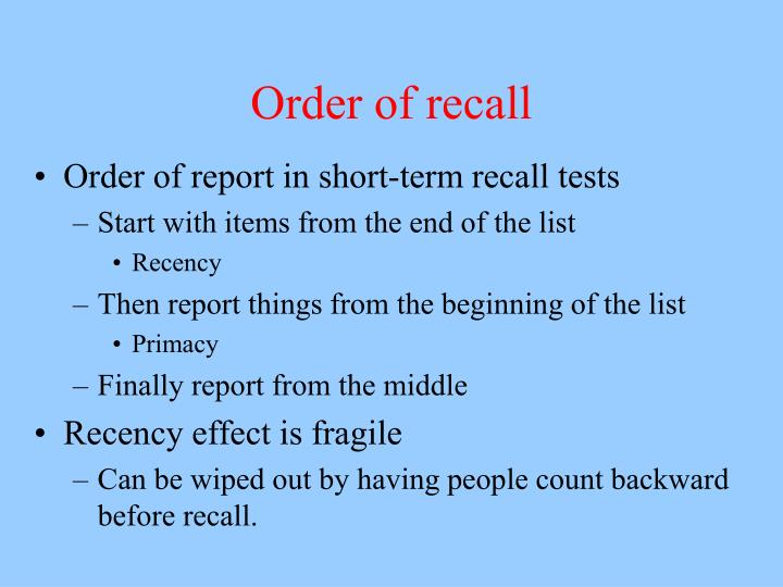 Order of recall