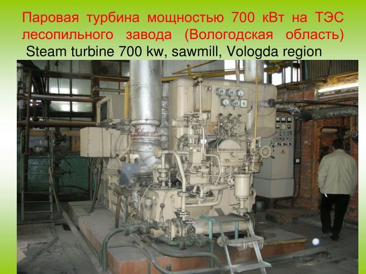 Паровая турбина мощностью 700 кВт на ТЭС лесопильного завода (Вологодская область)