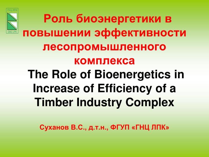 Роль биоэнергетики в повышении эффективности лесопромышленного комплекса