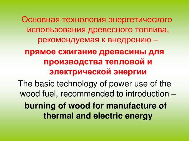 Основная технология энергетического использования древесного топлива, рекомендуемая к внедрению –