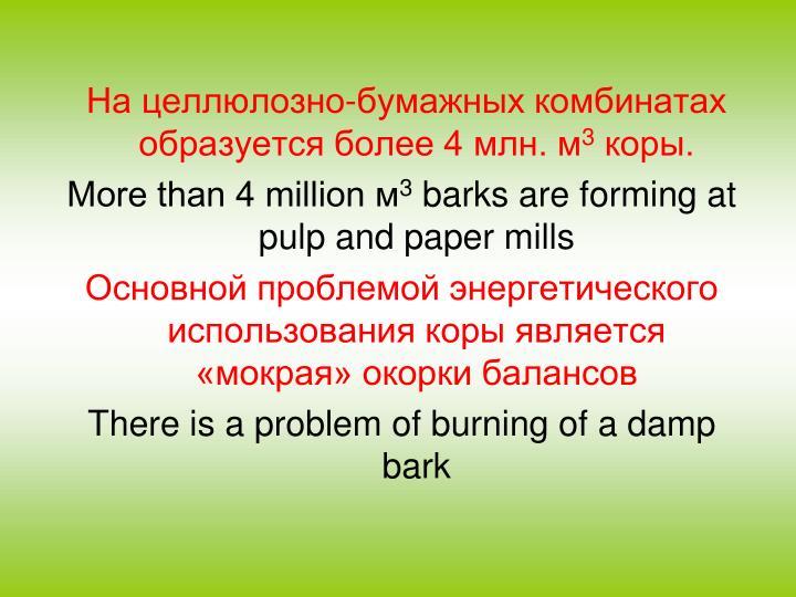 На целлюлозно-бумажных комбинатах образуется более 4 млн. м