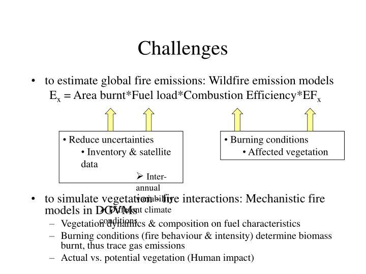 to estimate global fire emissions: Wildfire emission models
