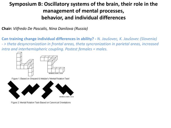 Symposium B: Oscillatory systems of the brain, their role in the management of mental processes,