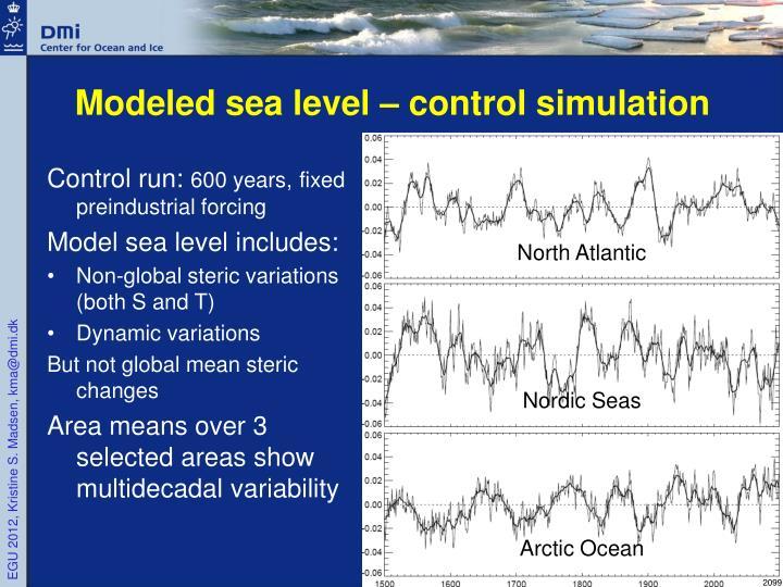 Modeled sea level – control simulation