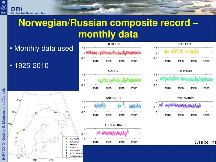 Norwegian/Russian composite record – monthly data