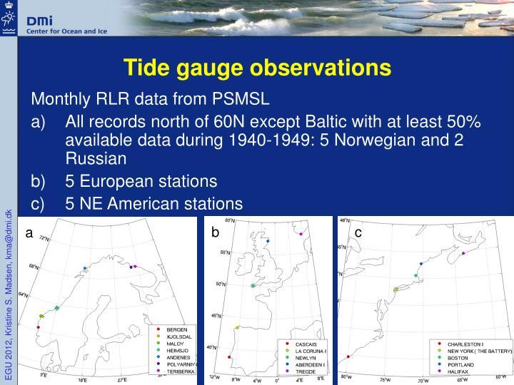 Tide gauge observations