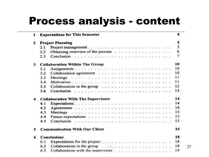 Process analysis - content