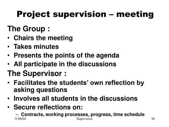Project supervision – meeting