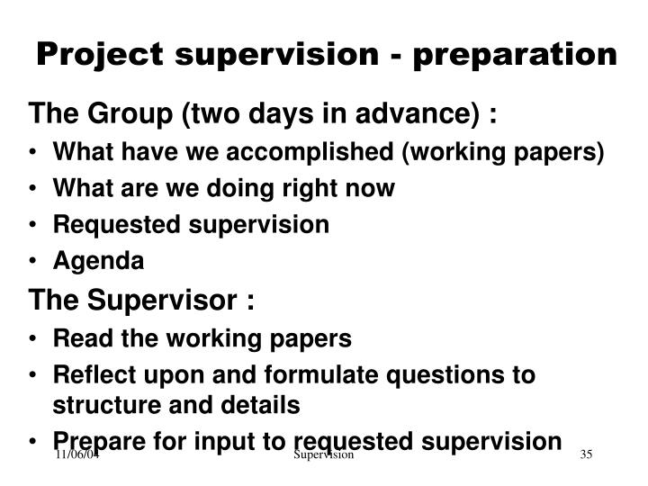 Project supervision - preparation