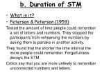 b duration of stm