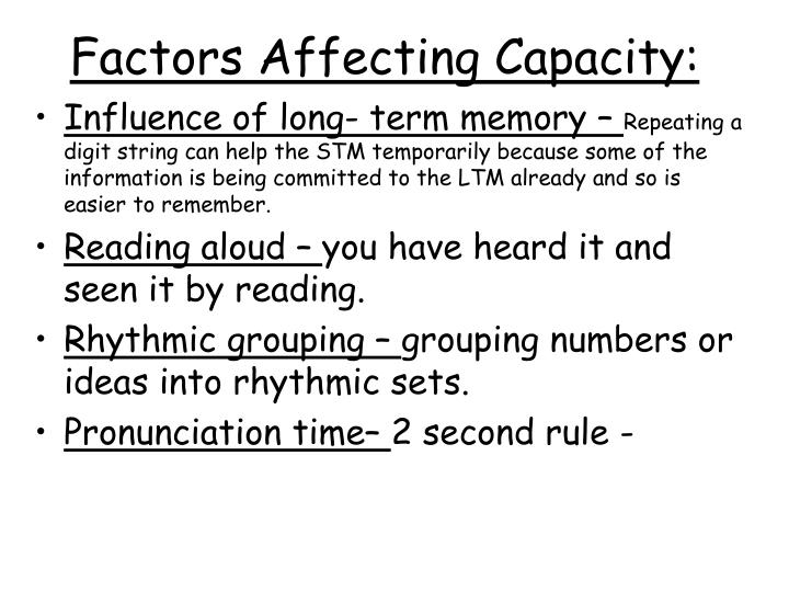 Factors affecting capacity