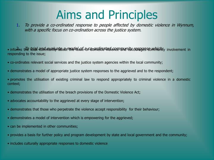 Aims and Principles