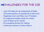 challenges for the ccr