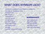 what does wynnum lack