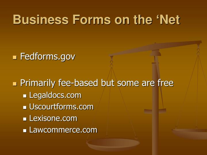 Business Forms on the 'Net
