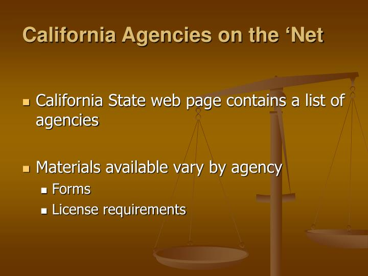 California Agencies on the 'Net