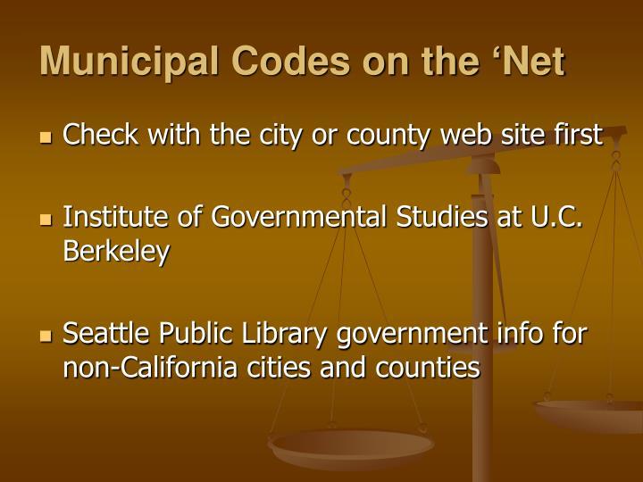 Municipal Codes on the 'Net