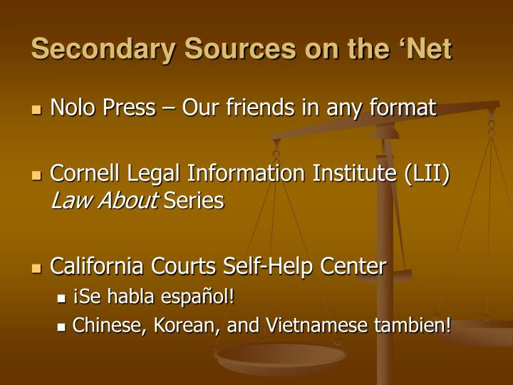 Secondary Sources on the 'Net