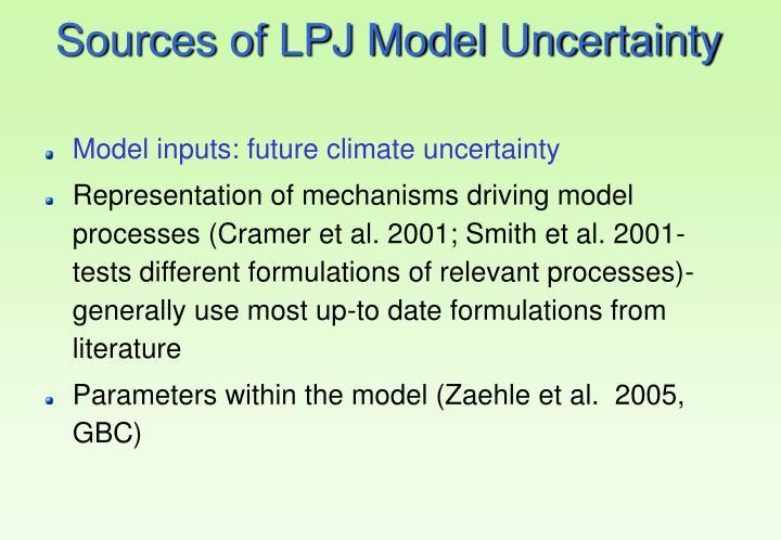 Sources of LPJ Model Uncertainty