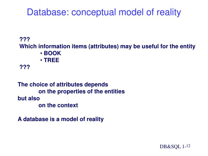Database: conceptual model of reality