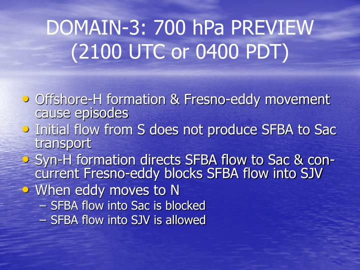 DOMAIN-3: 700 hPa PREVIEW (2100 UTC or 0400 PDT)