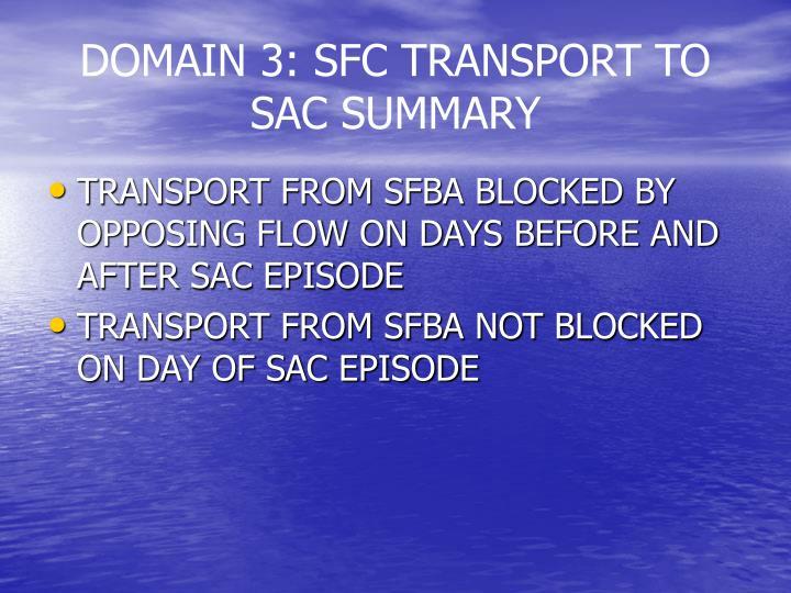 DOMAIN 3: SFC TRANSPORT TO SAC SUMMARY