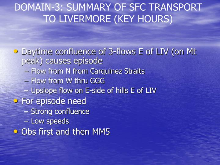 DOMAIN-3: SUMMARY OF SFC TRANSPORT TO LIVERMORE (KEY HOURS)