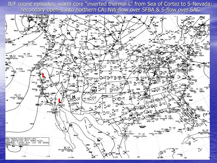 """B/F ozone episodes: warm core """"inverted thermal L"""" from Sea of Cortez to S-Nevada; secondary open-L into northern CA; NW-flow over SFBA & S-flow over SAC"""
