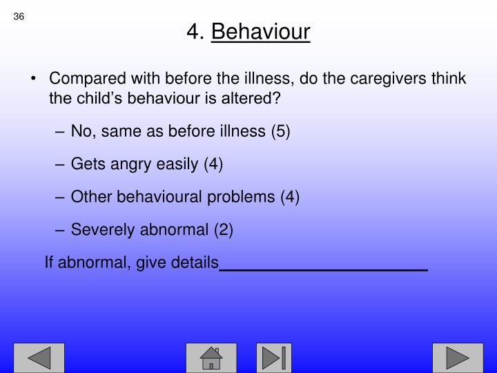 Compared with before the illness, do the caregivers think the child's behaviour is altered?