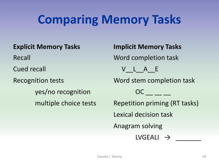 Comparing Memory Tasks