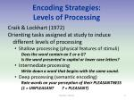 encoding strategies levels of processing