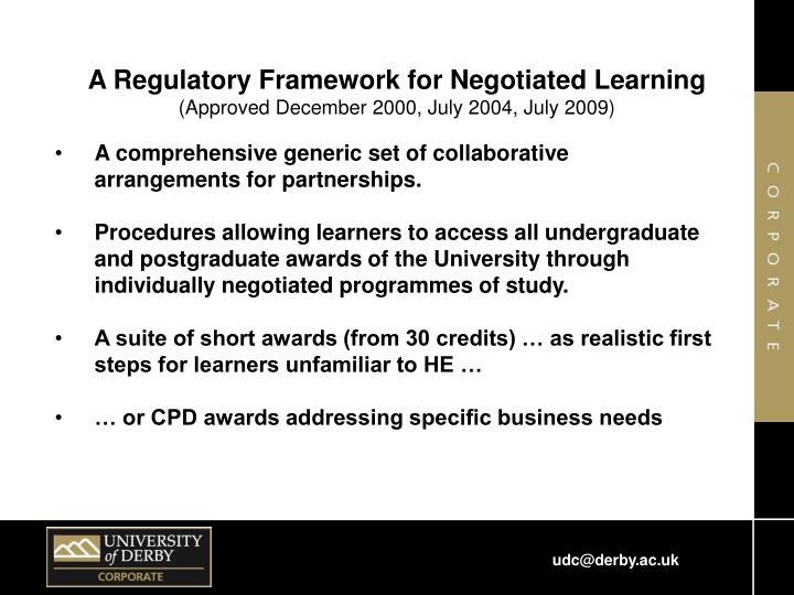 A Regulatory Framework for Negotiated Learning