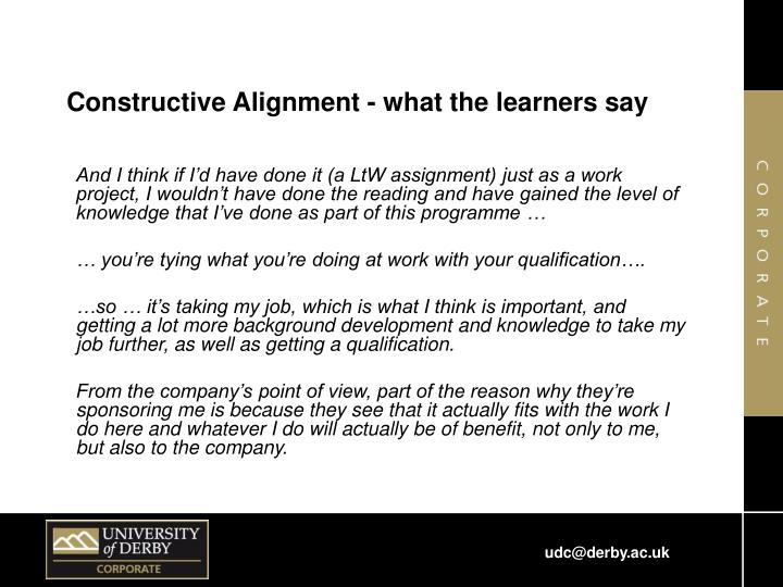 Constructive Alignment - what the learners say