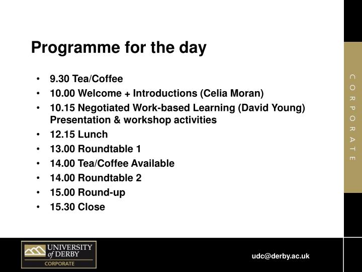 Programme for the day