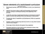 seven elements of a work based curriculum after boud 2001