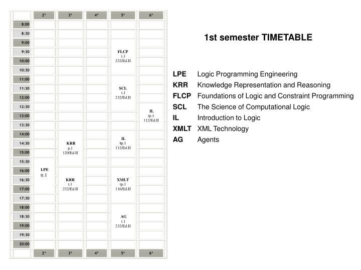 1st semester TIMETABLE