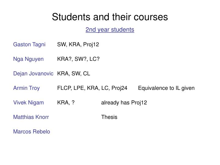 Students and their courses