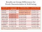 results on group differences for work characteristics well being