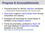 progress accomplishments