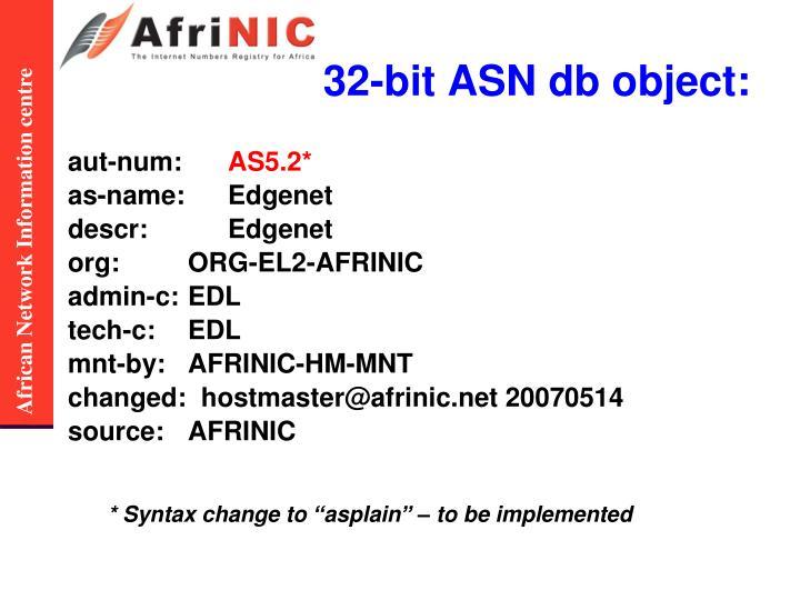 32-bit ASN db object: