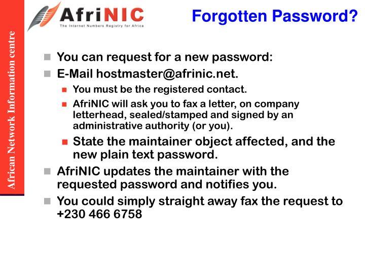 Forgotten Password?