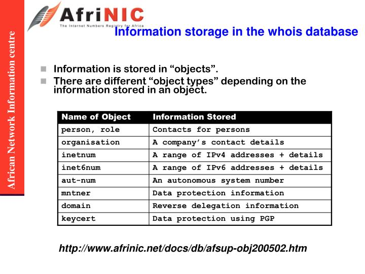 Information storage in the whois database