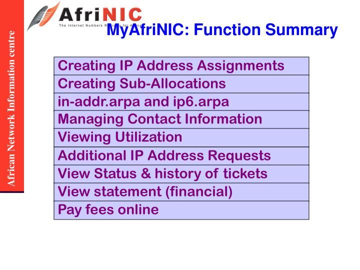 MyAfriNIC: Function Summary