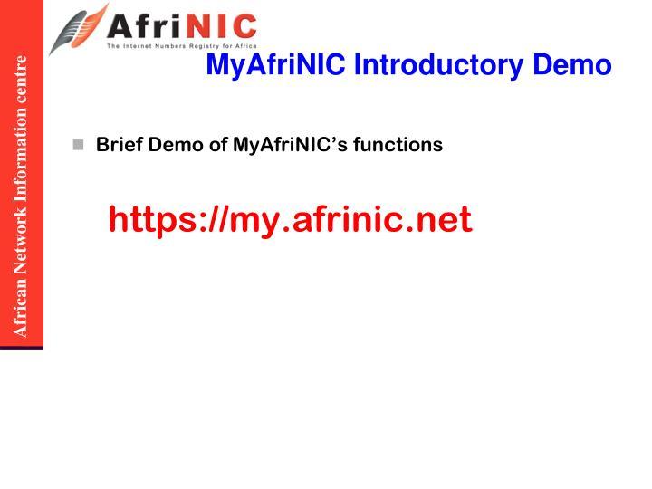 MyAfriNIC Introductory Demo