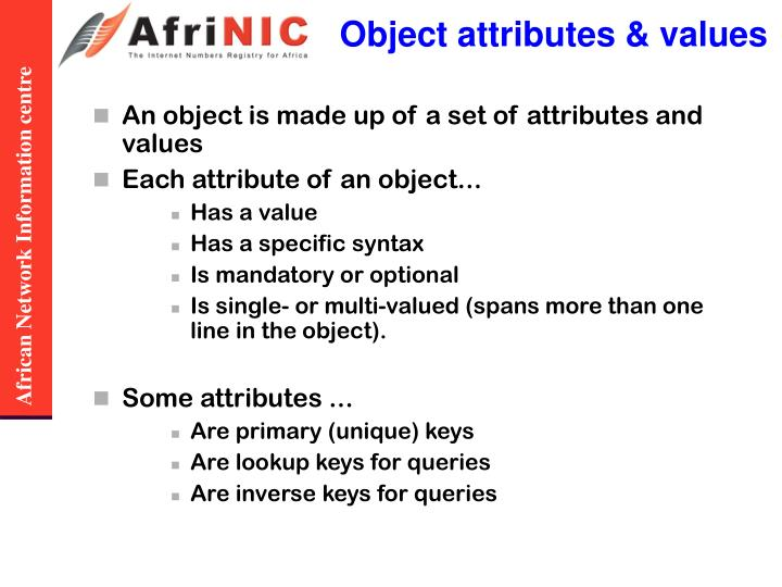 Object attributes & values