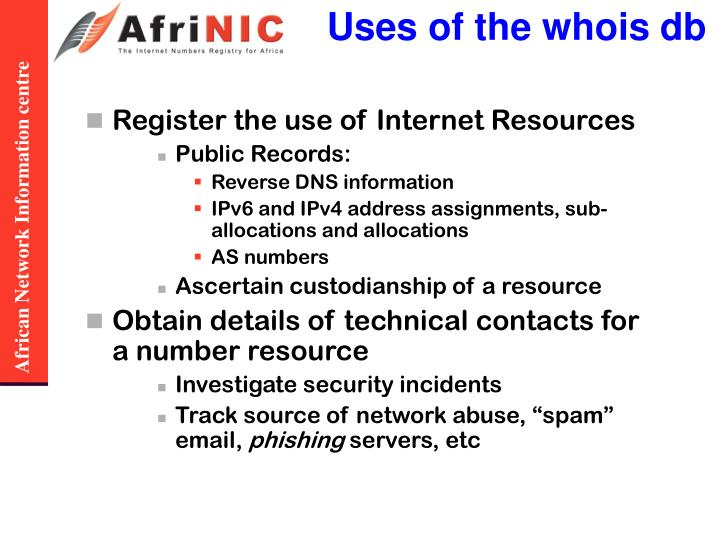 Uses of the whois db