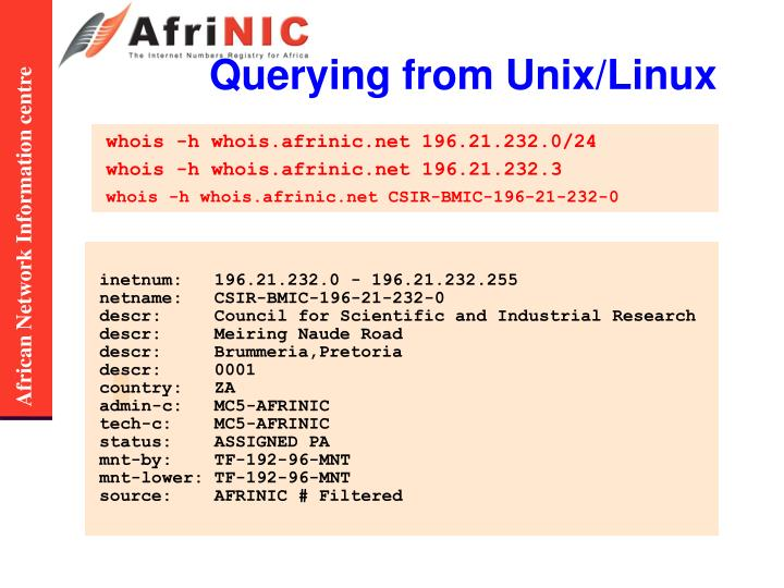Querying from Unix/Linux